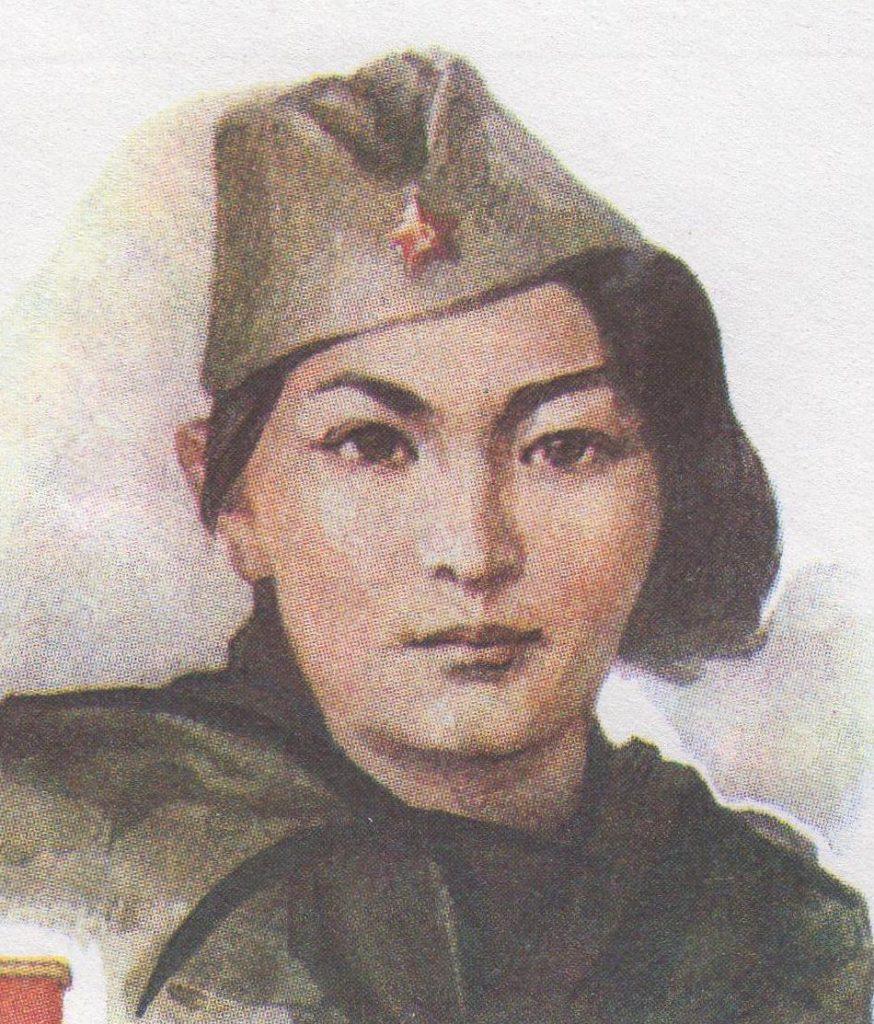 Podobizna Aliji Mołdagułowej z poświęconego jej znaczka pocztowego (A. Sokołow/domena publiczna).