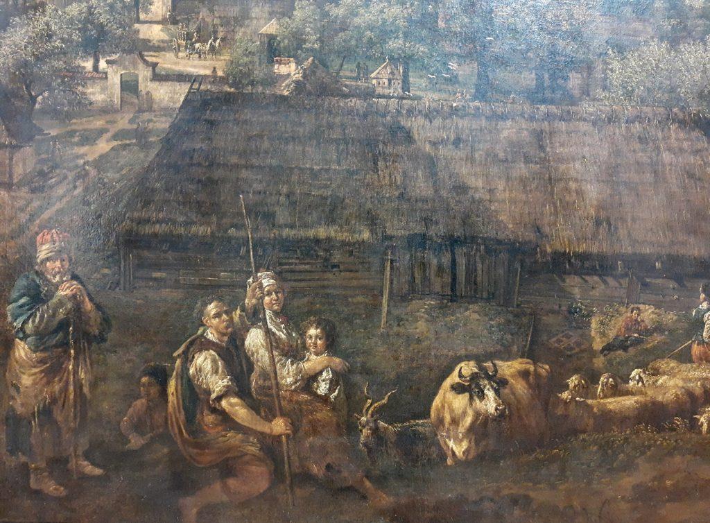 Polscy chłopi pańszczyźniani. Fragment obrazu Canaletta (domena publiczna).