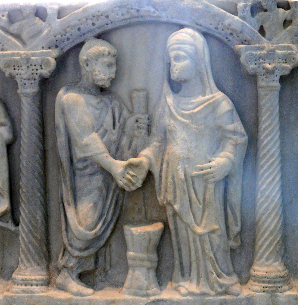 Rzymska para podająca sobie dłonie na znak zawarcia małżeństwa. Płaskorzeźba z IV wieku n.e. (Ad Meskens/CC BY-SA 3.0).