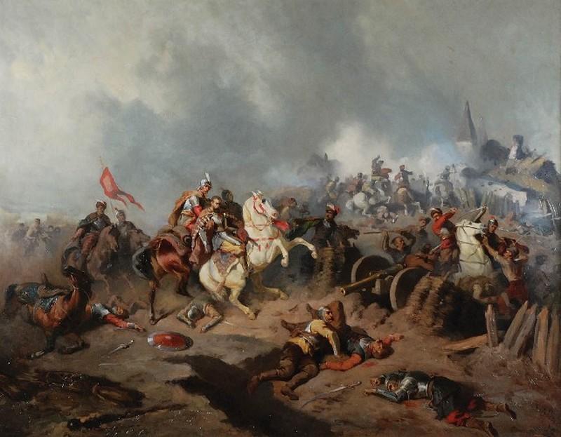 Stefan Czarniecki pod Monasterzyskami. Obraz Henryka Pillatiego (domena publiczna).