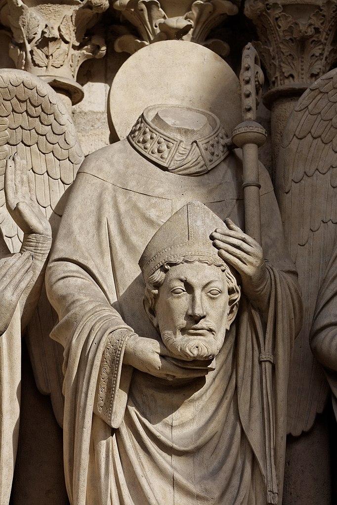 Święty Dionizy z własną głową w dłoniach