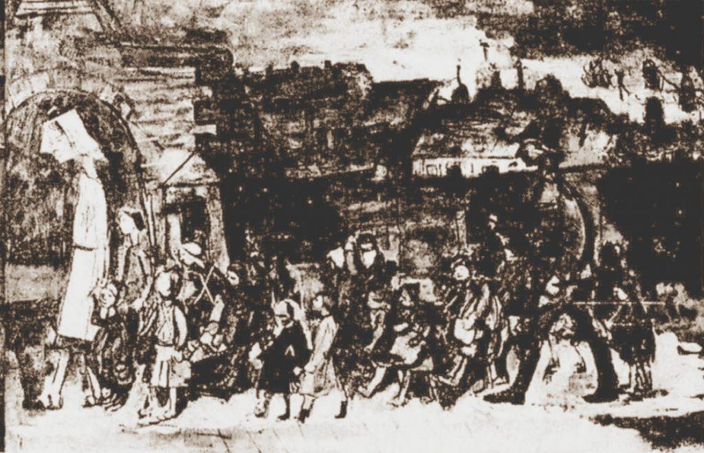 Transport dzieci z białostockiego getta po dotarciu do Theresienstadt. Rysunek Otto Ungera (domena publiczna).
