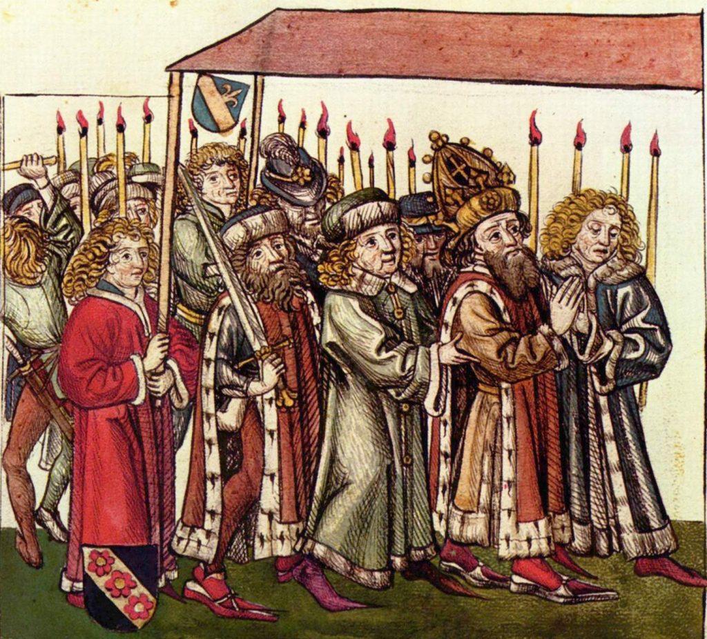 Zygmunt na soborze w Konstancji. Drzeworyt z kroniki Ulricha von Richentala (domena publiczna).