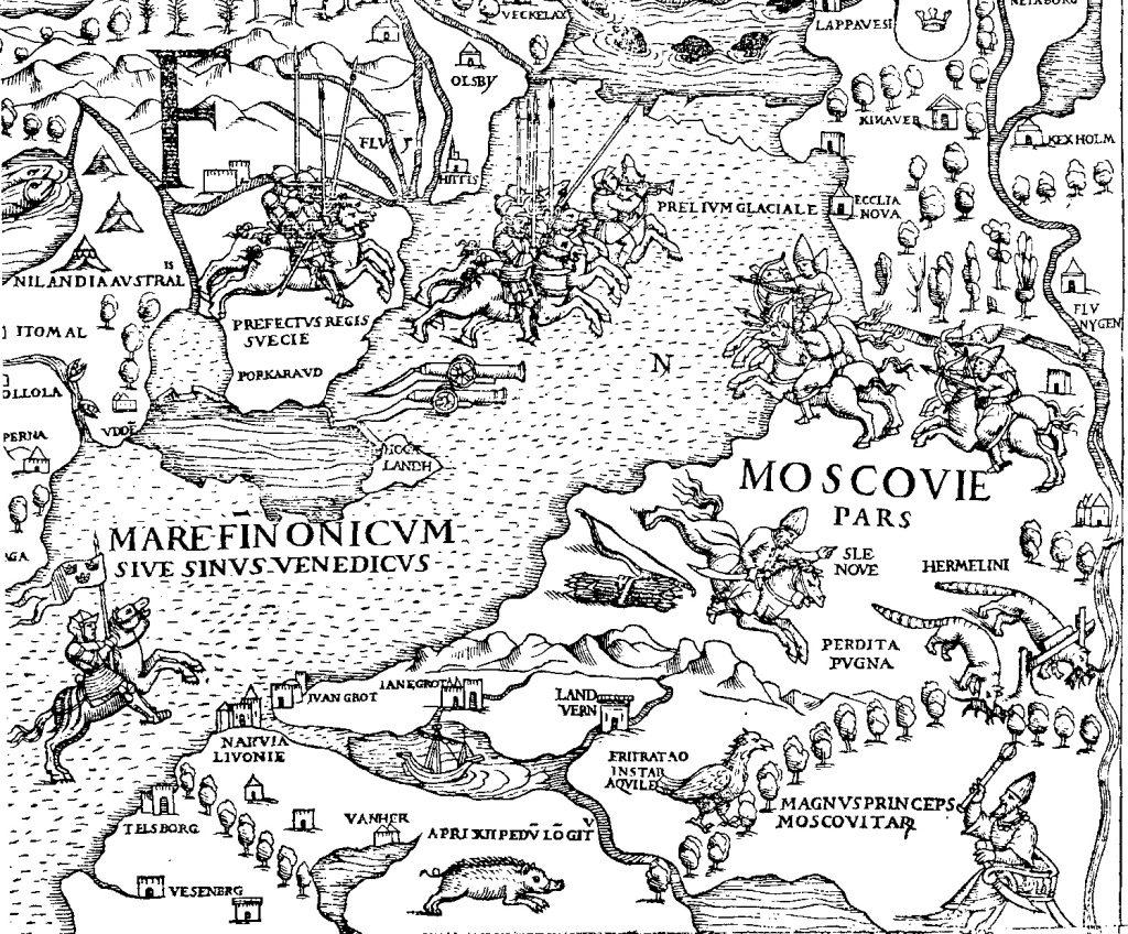 Carta Marina z 1539 roku. Na  mapie wydanej w Wenecji  ukazano obszary Bałtyku, które  dało się przemierzać konno i po  których można było  przeprowadzać zimą armaty.
