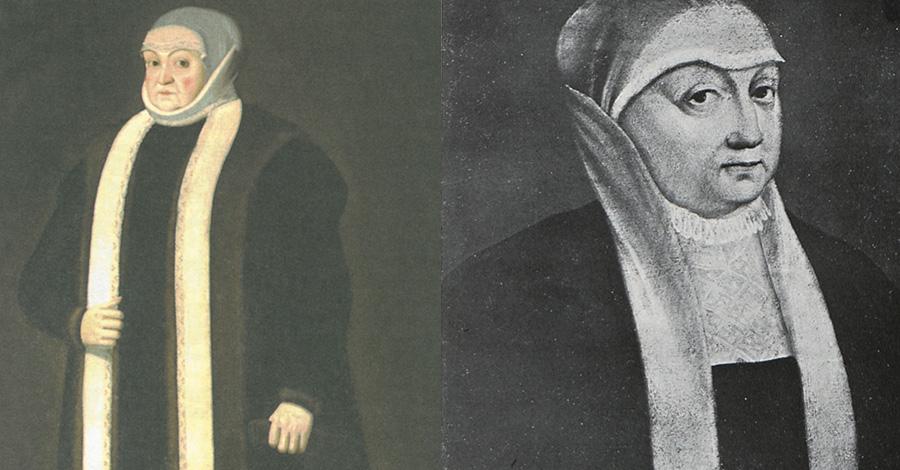 Dwa wyobrażenia Bony w stroju wdowim
