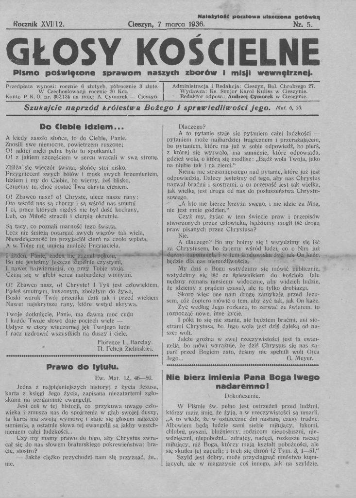 """Strona tytułowa numeru """"Głosów Katolickich"""", w którym opublikowano 10 przykazań dla męża (domena publiczna)."""