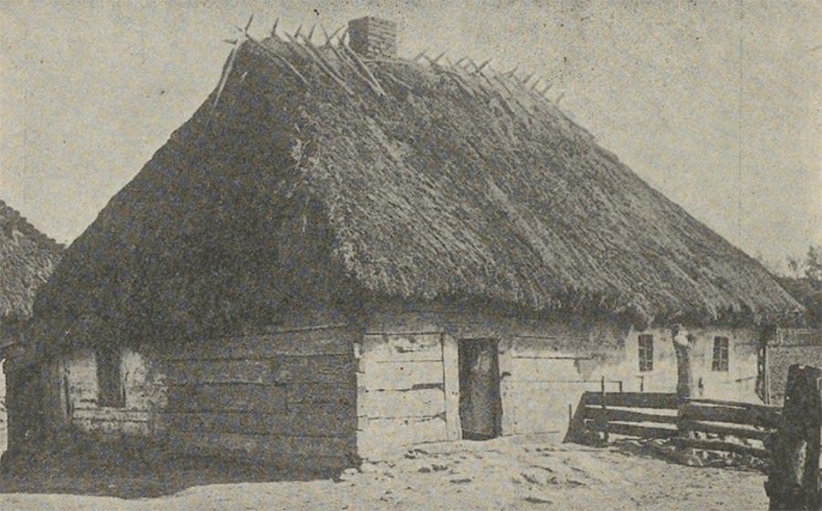 Jednoizbowa chata na Podlasiu wybudowana w 1792 roku. Fotografia z końca XIX wieku.