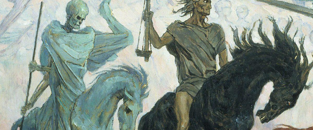 Jeźdźcy Apokalipsy. Fragment obrazu Wiktora Wasniecowa