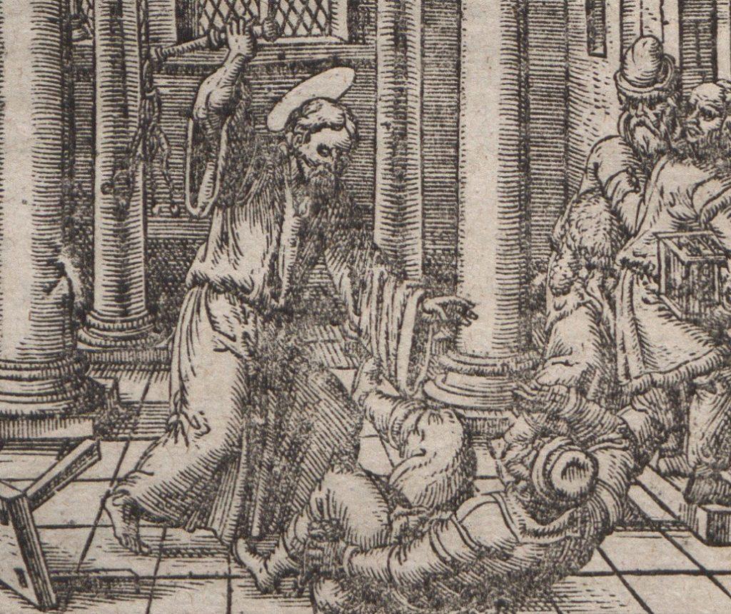 Jezus z kańczugiem w dłoni  okłada kupców w świątyni  jerozolimskiej. Taką ilustrację zamieszczono w jednym z wydań szalenie popularnego podręcznika  dla szlachty autorstwa Jakuba  Kazimierza Haura.