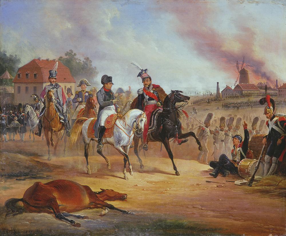 Napoleon i Józef Poniatowski w czasie bitwy pod Lipskiej. Obraz Januarego Suchodolskiego (domena publiczna).