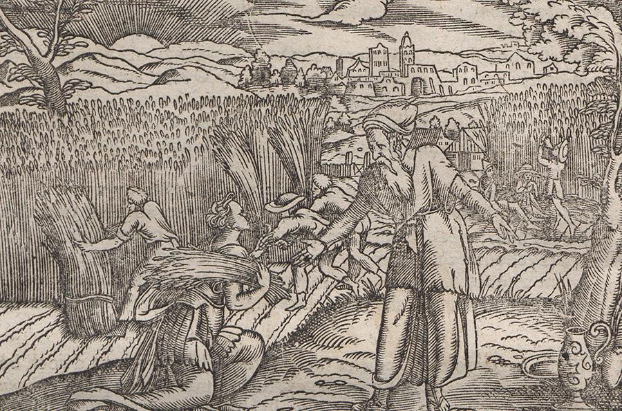 Pokorni chłopi przy żniwach i ich łaskawy nadzorca. XVII-wieczna  rycina z traktatu Jakuba  Kazimierza Haura.