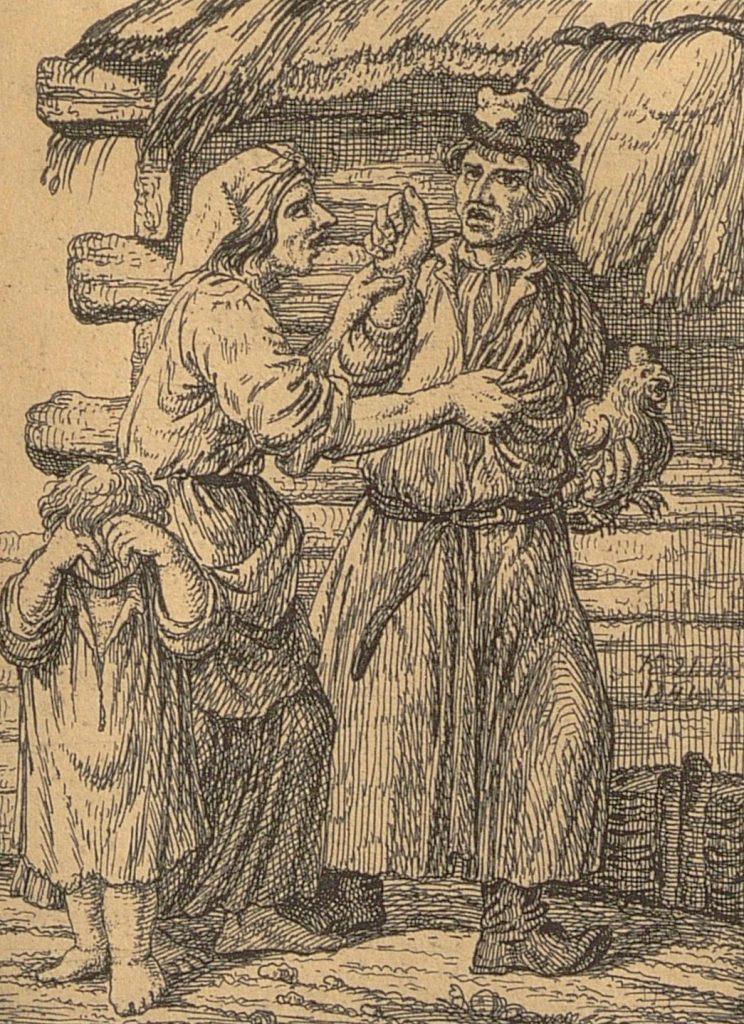 Para chłopska kłócąca się o kurę i płaczące dziecko przed chatą
