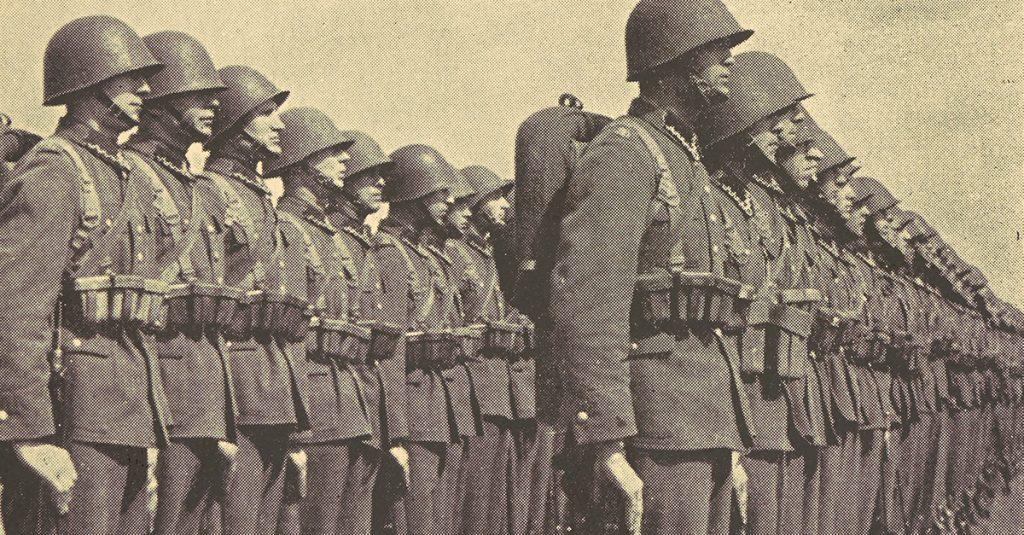 Piechota Wojska Polskiego. Pocztówka z lat 1938-1939.