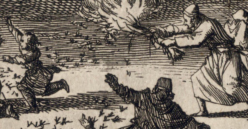 Plaga szarańczy. Rycina Jana Luykena z 1700 roku.
