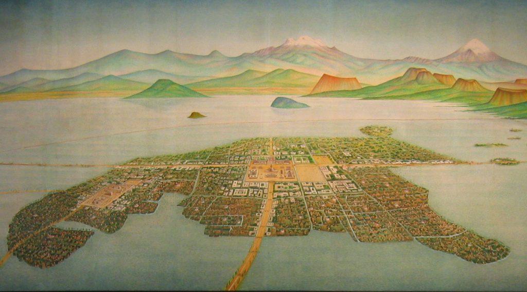 Rekonstrukcja wyglądu Tenochtitlan prezentowana w Narodowym Muzeum Antropologicznym w Meksyku (Xuan Che/CC BY 2.0).