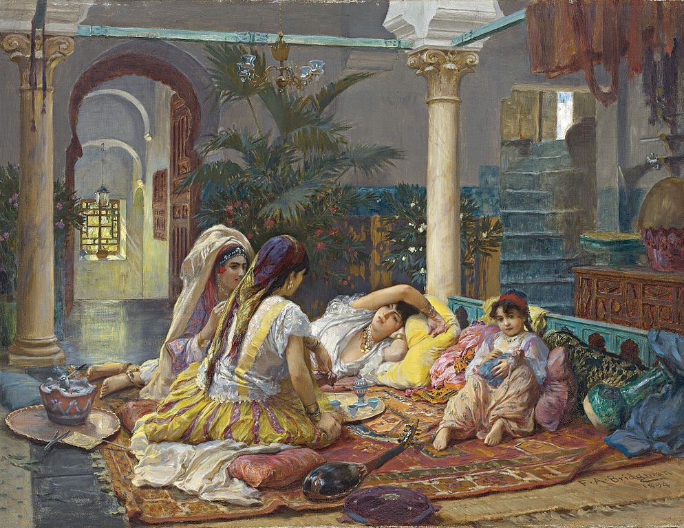 Scena w haremie. Obraz Fredercika Bridgmana z końca XIX wieku.