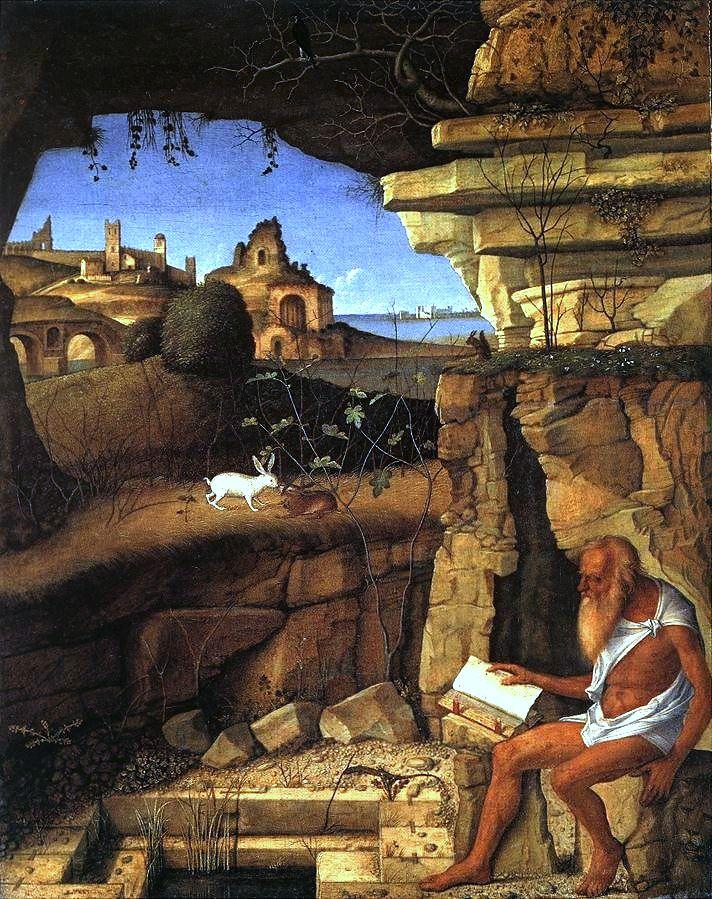 Św. Hieronim na obrazie Giovanniego Belliniego (domena publiczna).