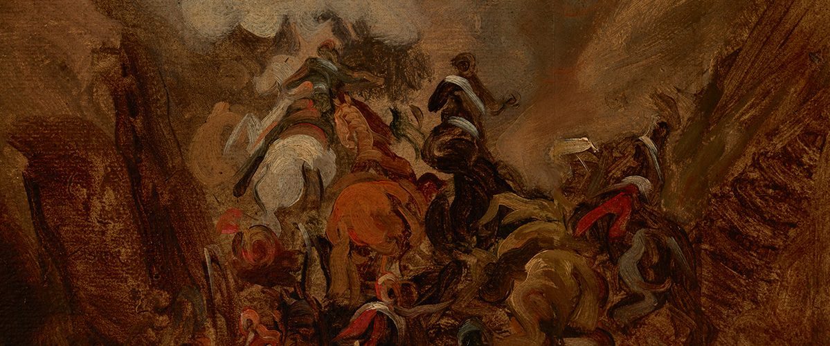 Szarża w wąwozie Somosierra. Fragment obrazu Piotra Michałowskiego.