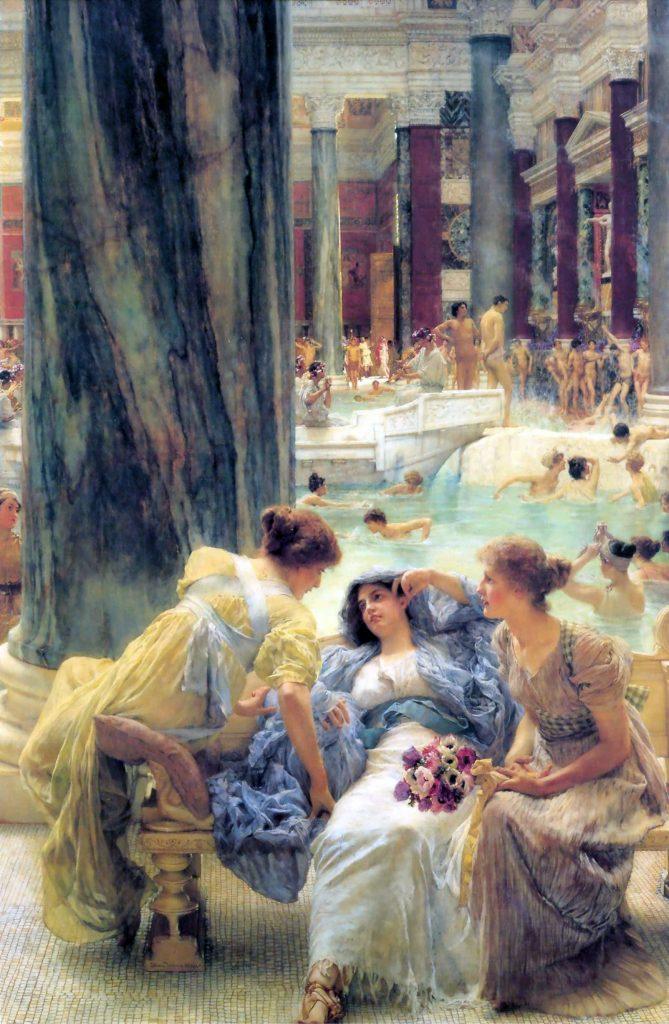 Tak Termy Karakalli wyobrażał sobie Lawrence Alma-Tadema (domena publiczna).