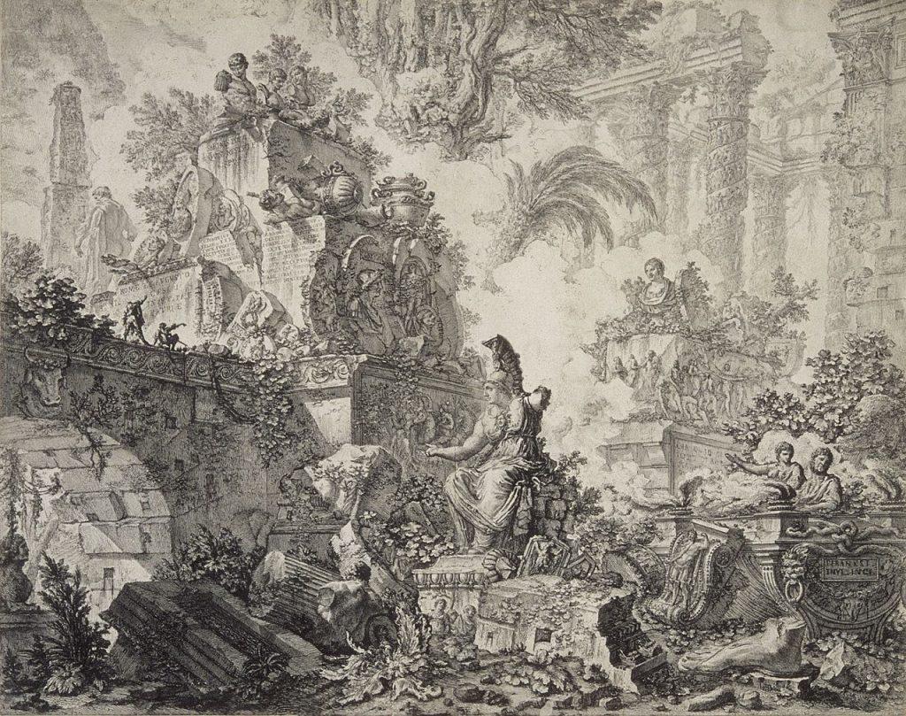 XVIII-wieczny rysunek przedstawiający ruiny Term Tytusa (Giovanni Battista Piranesi/domena publiczna).