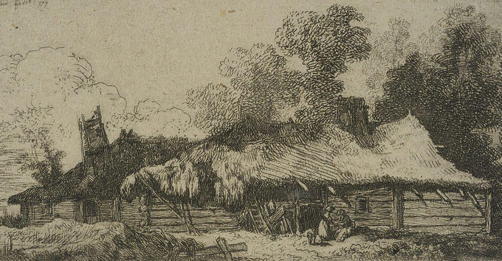 Zagroda chłopska. Rysunek J.P. Norblina z 1777 roku.