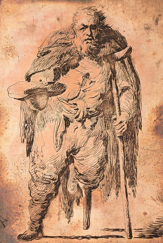 Żebrak o kuli. Rysunek Michała Płońskiego.