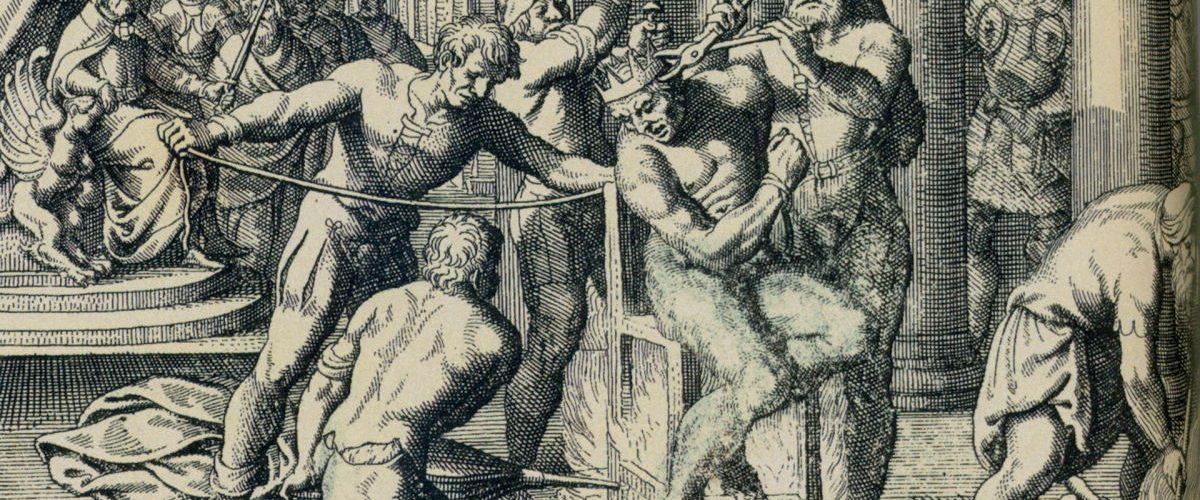 Egzekucja György'a Dózsy na XVII-wiecznej węgierskiej rycinie.