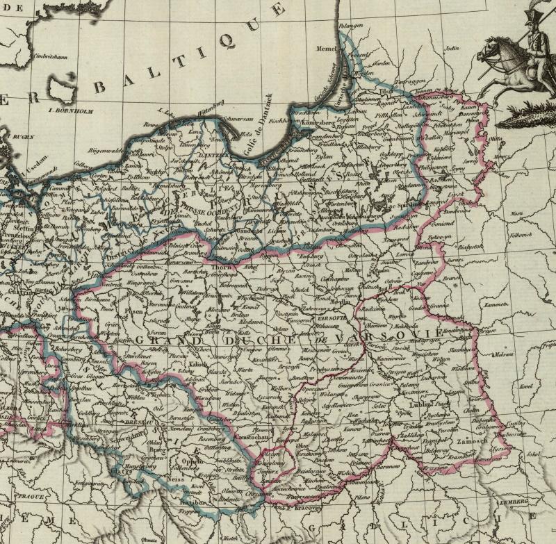 Księstwo Warszawskie na francuskiej mapie z 1812 roku.