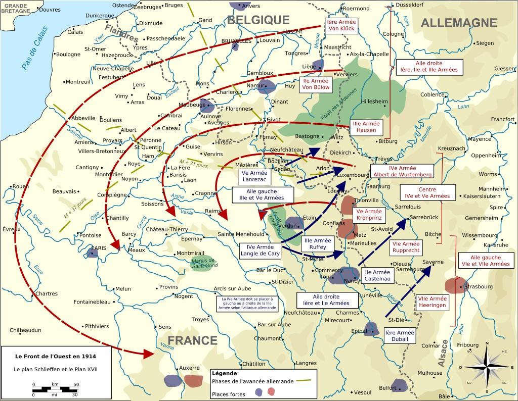 Niemiecki i francuski plan działań wojennych z 1914 roku (Tinodela/CC BY-SA 3.0).