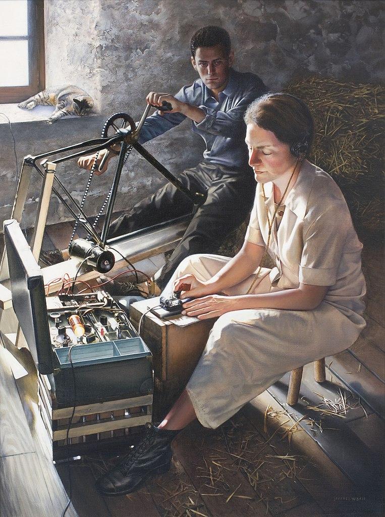 Obraz Jeffa Bassa przedstawiający Virginię przekazującą depesze z farmy Léi Lebrat w departamencie Górna Loara w lipcu 1944 (domena publiczna).