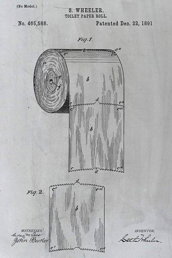 Patent Setha Wheelera na papier toaletowy w rolce (domena publiczna).