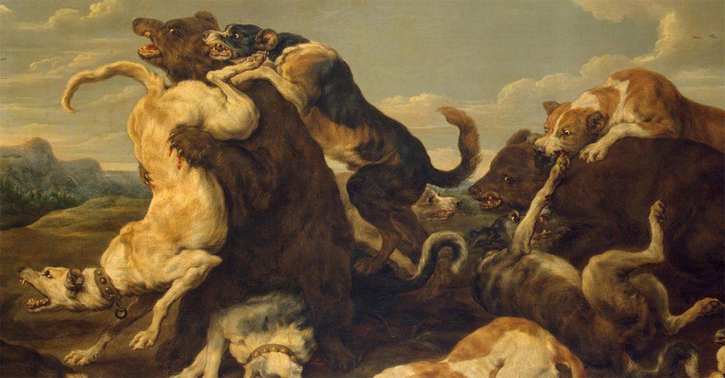 Polowanie na niedźwiedzia. Obraz Paula de Vosa.