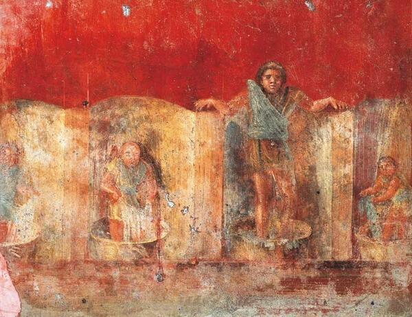 Praca w rzymskim foluszu. Malowidło ścienne z Pompejów.