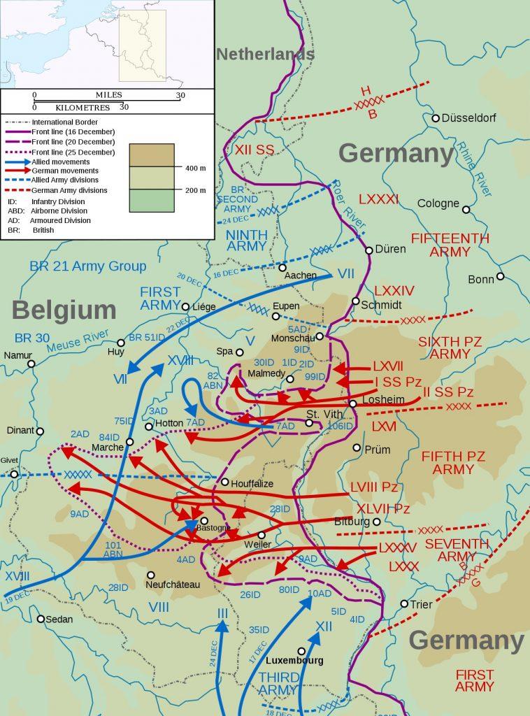 Przebieg niemieckiej ofensywy w Ardenach (Matthewedwards/C BY-SA 3.0).