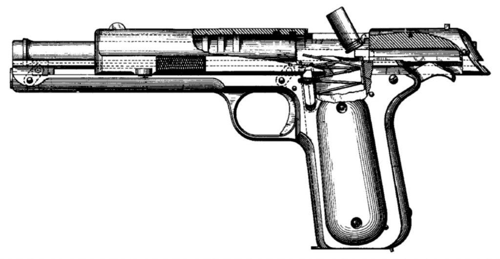 Przekrój prototypu z 1896 roku. Rysunek ze zgłoszenia patentowego.
