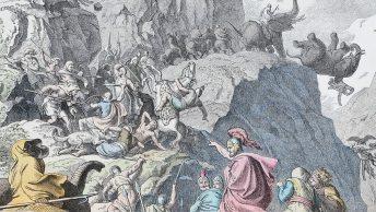 Przeprawa Hannibala przez Alpy. Rycina Heinricha Leutemanna.