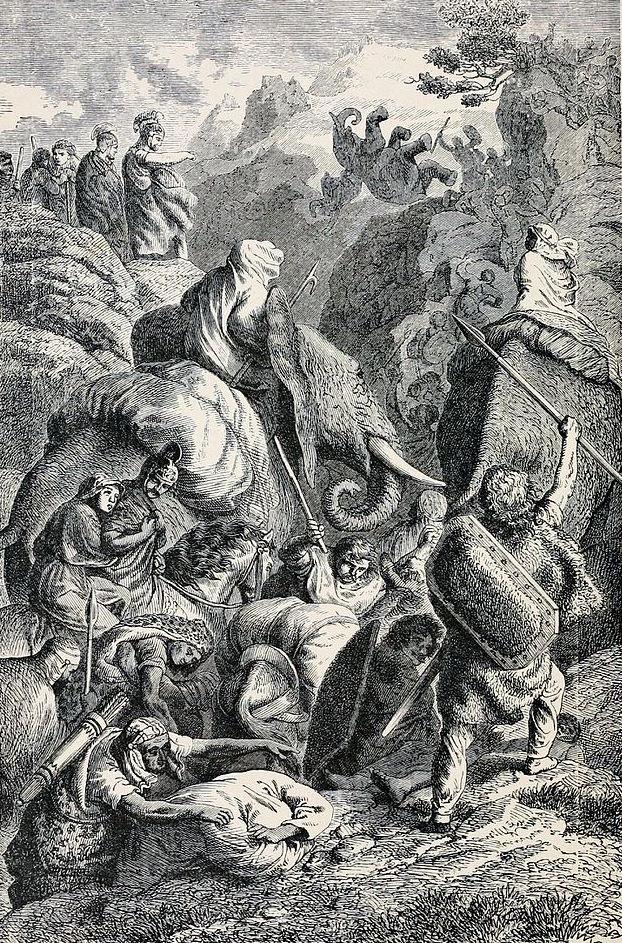 Przeprawa Hannibala przez Alpy. Rycina XIX-wieczna