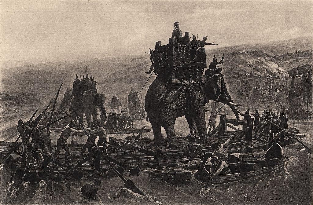 Przeprawianie słoni przez Rodan w drodze do Italii