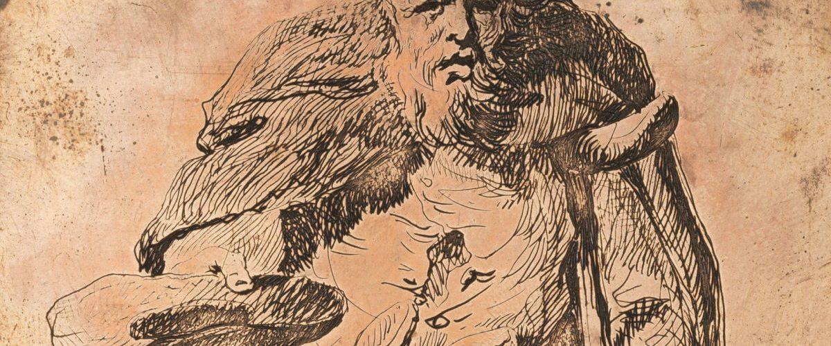 Wiejski żebrak. Rycina w zbiorach Muzeum Narodowego