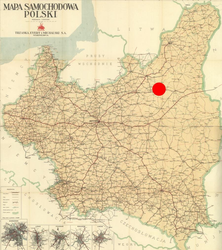 Wołkowysk zaznaczony na mapie przedwojennej Polski.