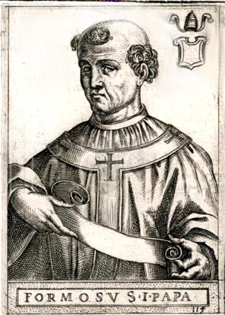 XVI-wieczne wyobrażenie papieża Formozusa (domena publiczna).