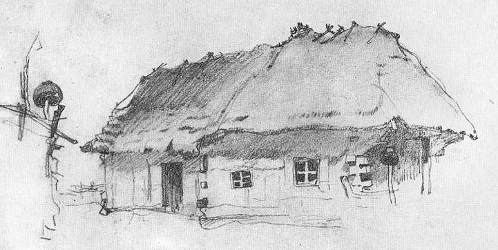 Chata wiejska w Guberni Kijowskiej. Pierwsza połowa XIX wieku.