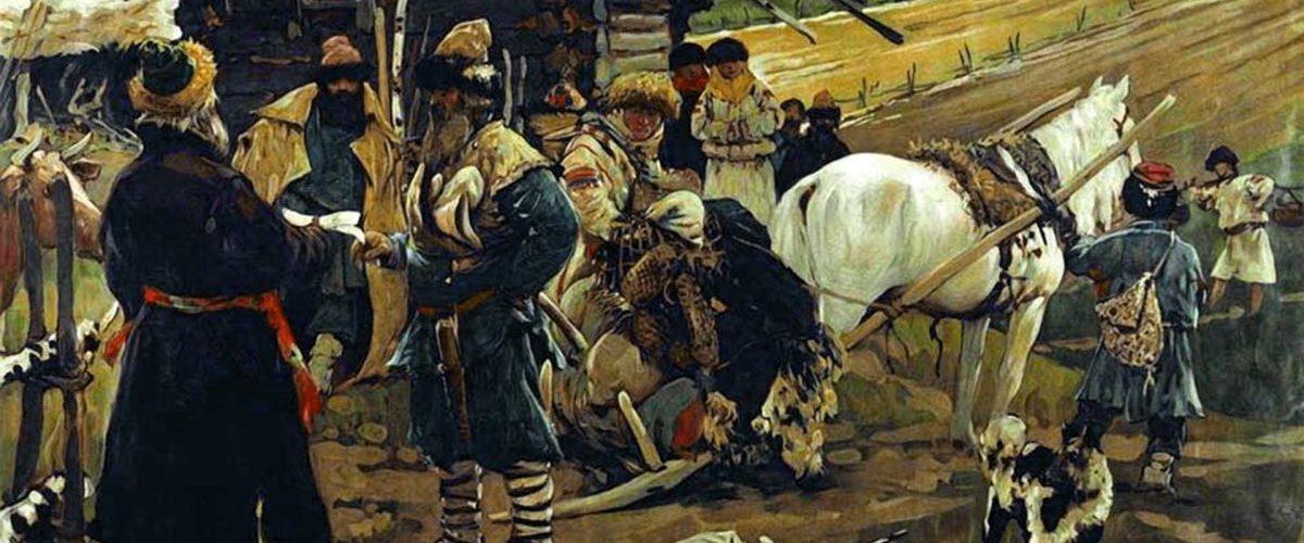 Chłop opuszczający wieś. Obraz Siergieja Iwanowa.