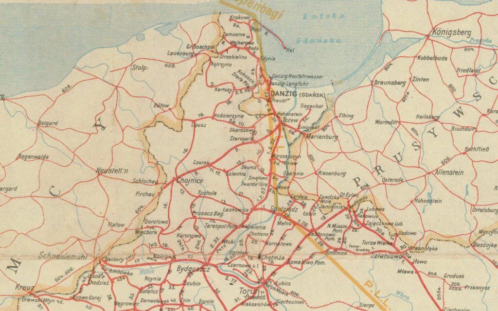Fragment mapy z 1934 roku pokazującej sieć kolejową na Pomorzu (domena publiczna).