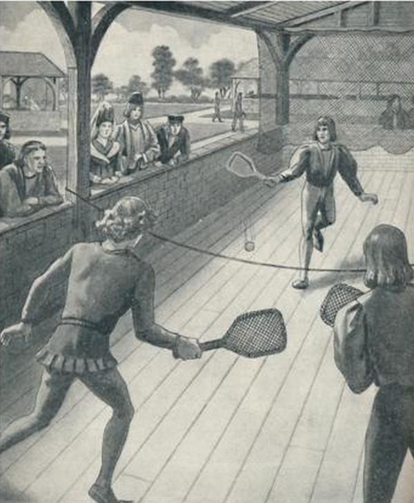 Gra w tenisa była modna w Anglii już w czasach Tudorów (domena publiczna).