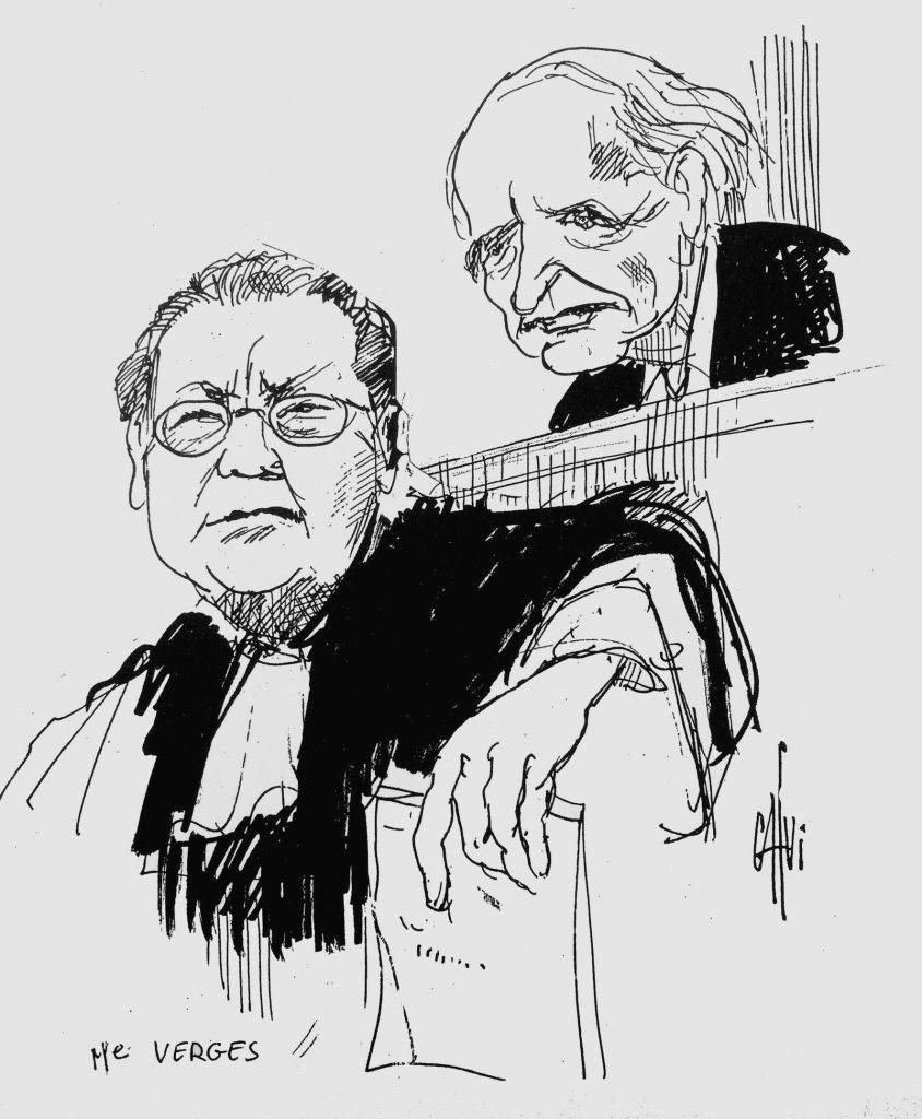 Klaus Barbie i jego prawnik podczas procesu z 1987 roku (Calvi/CC BY-SA 4.0).