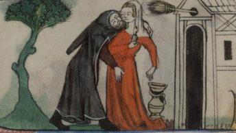 Napaść seksualna mnicha na bezbronną kobietę. Angielska miniatura z XIV wieku