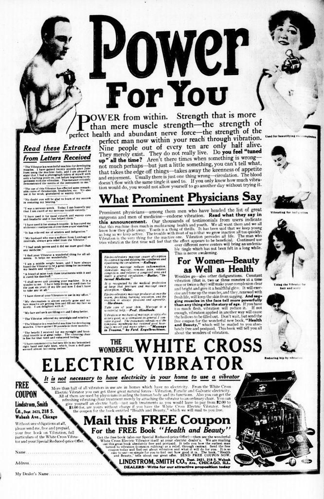 Pochodząca z 1913 roku reklama prasowa wibratora (domena publiczna).