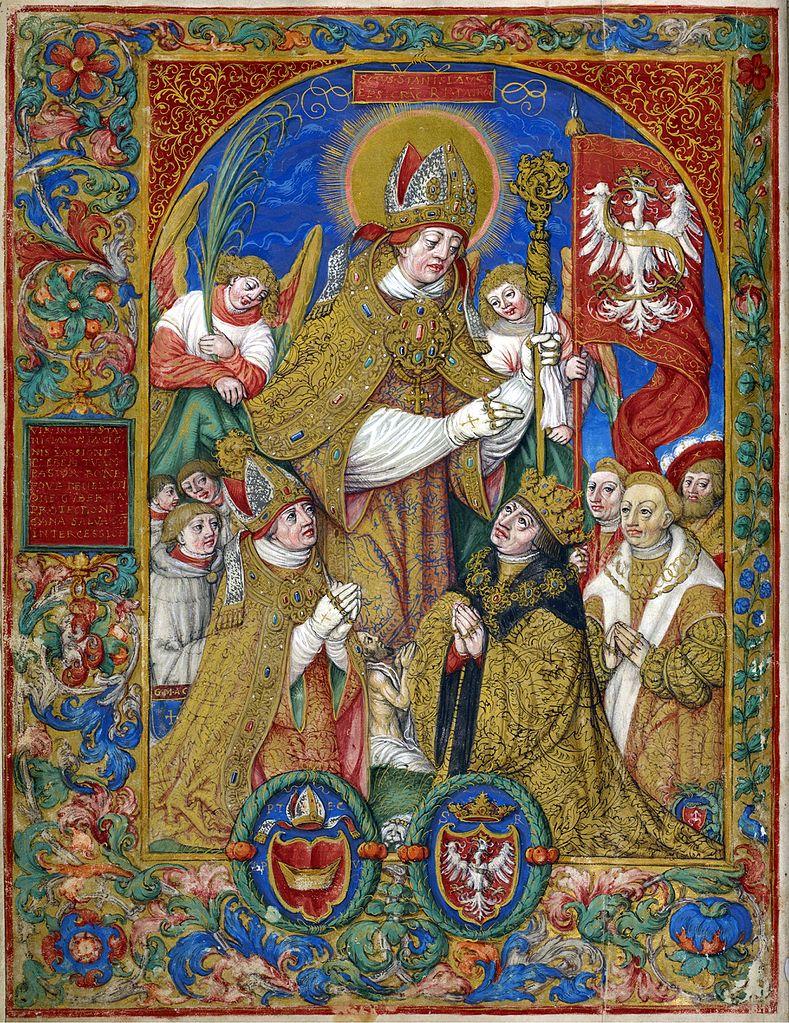 Pochodzące z XVI wieku wyobrażenie św. Stanisława jaki patrona Królestwa Polskiego (Stanisław Samostrzelnik/domena publiczna).