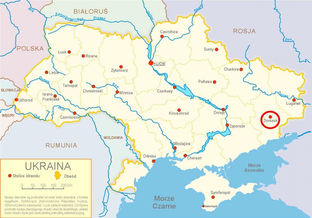 Mapa z podziałem administracyjnym Ukrainy. Czerwonym kółkiem zaznaczony Donieck (Sven Teschke/CC BY-SA 3.0).